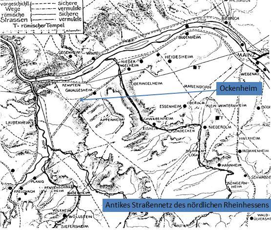 Karte - Römerstrasse durch Ockenheimer Gebiet